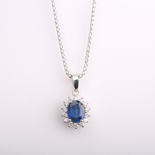 Robira kate princess diana william blue sapphire pendant 18k white robira kate princess diana william blue sapphire pendant 18k white gold wedding pendant jewelry for women mozeypictures Images
