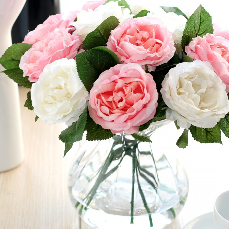 12pcs/Pack Real Latex Touch Rose Flowers Wedding Bouquet Home Party Design Flowers Decor Rose Artificial Flowers Silk Flowers