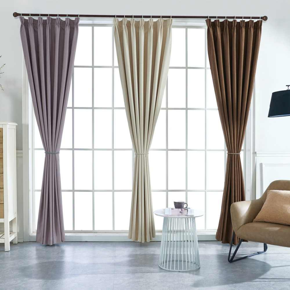 Suede Thermal Window Curtains For Living Room Black Out Ivory