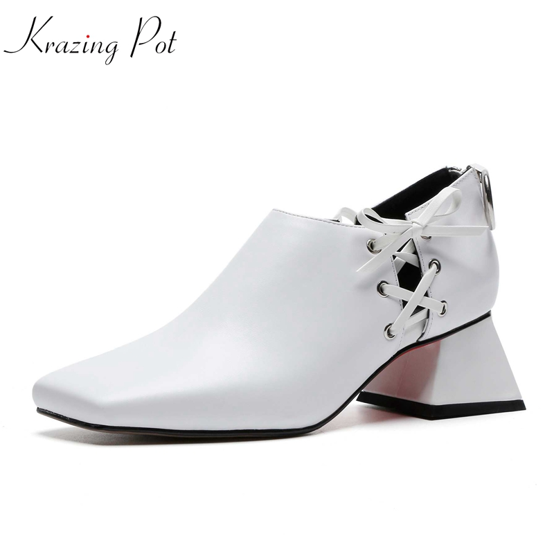Krazing Pot new Autumn genuine leather preppy style square toe rivets decoration cross tied fashion classical