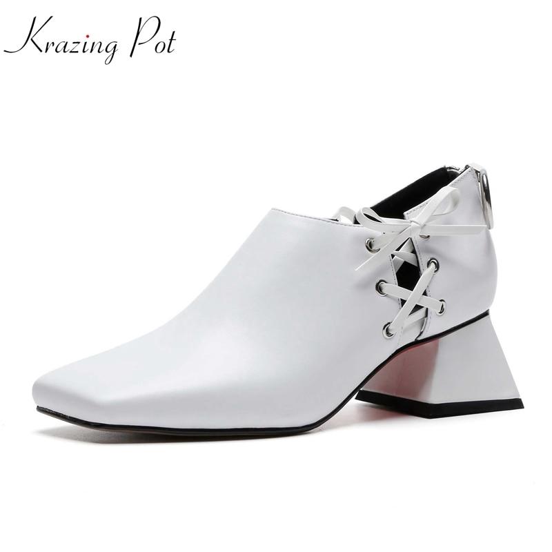 Krazing 냄비 새로운 가을 정품 가죽 preppy 스타일 광장 발가락 리벳 장식 크로스 패션 클래식 힐 펌프 L71-에서여성용 펌프부터 신발 의  그룹 1