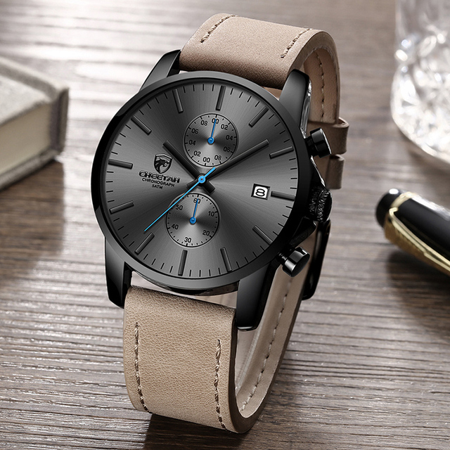 Men's Leather Strap Chronograph Watch