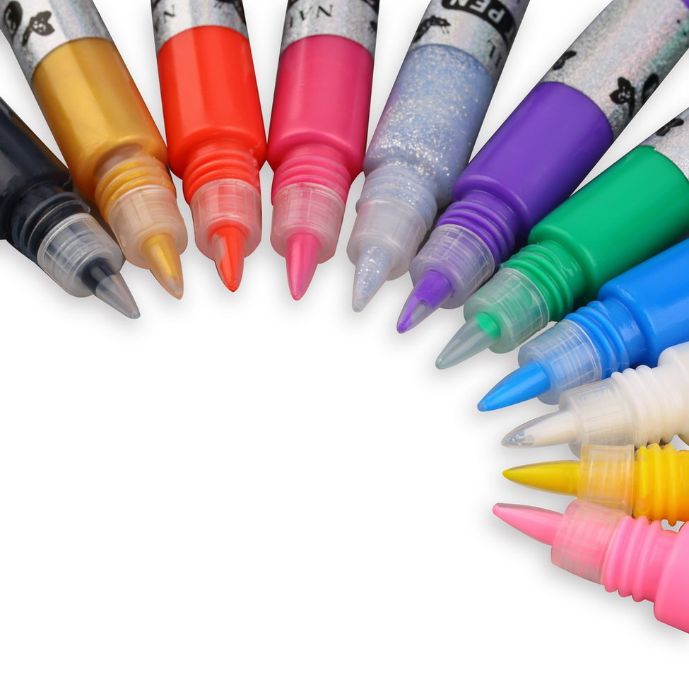 10Pcs 3D Nail Art Polish Painted Pen Liner Painting Pen Carved Pen Kit Set 12 color cinquantuno пиджак