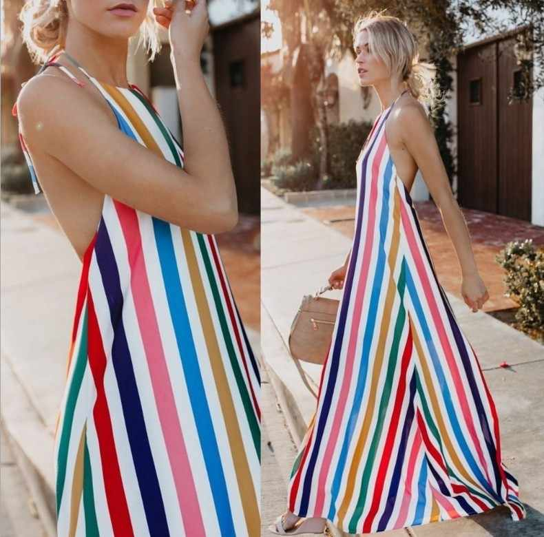 aac9a67fc2e 2018 Women s Rainbow Stripe Dress Summer Bohemian Long Dresses Boho Beach  Sexy Shoulder Off Halter Backless