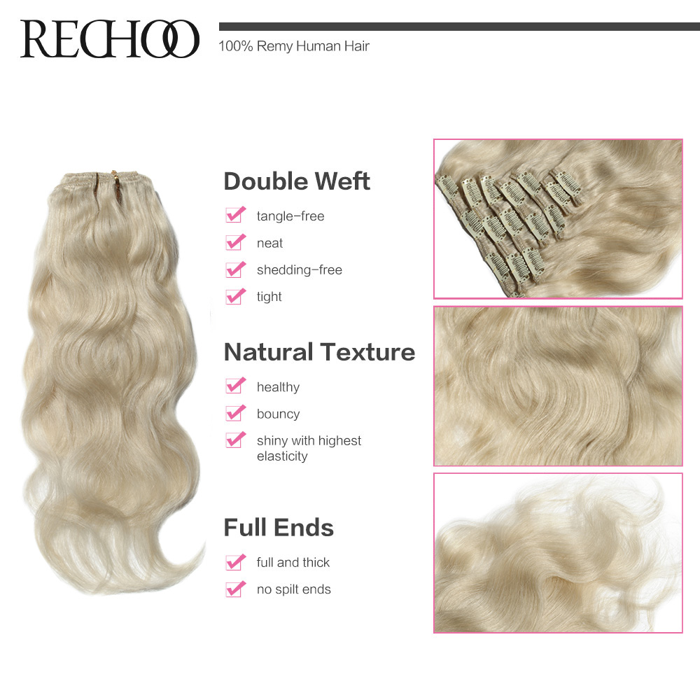 Rechoo Body Wave Clip In Human Hair Extensions Color 60 White Blonde