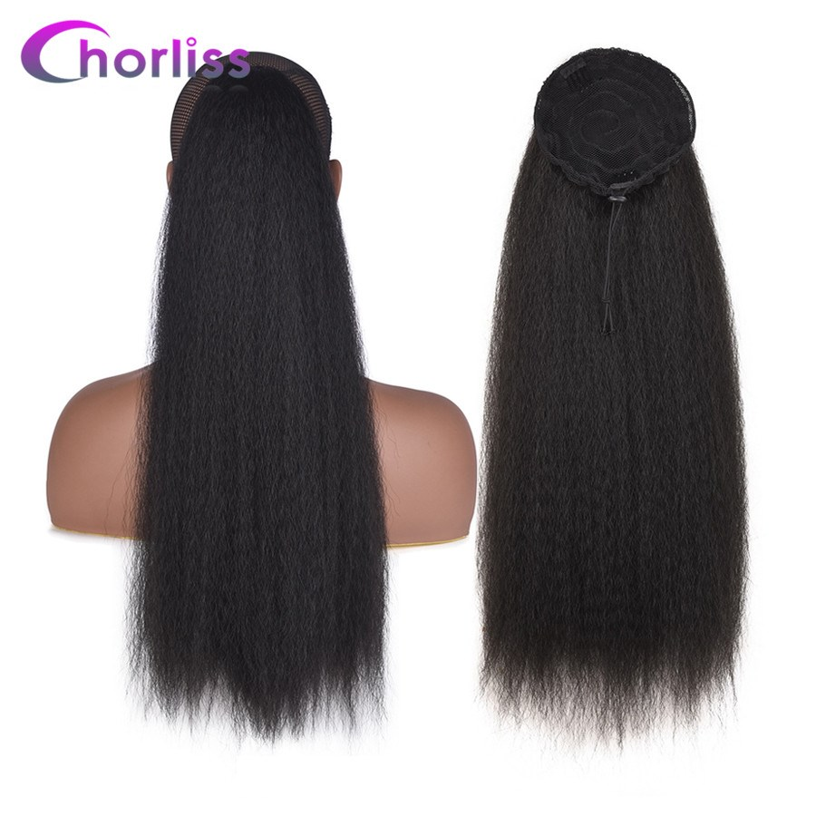 Chorliss 22inch Kinky Straight Synthetic Ponytail Extensions Drawstring Afro Ponytail Heat Resistant Hair Ponytail With Combs(China)