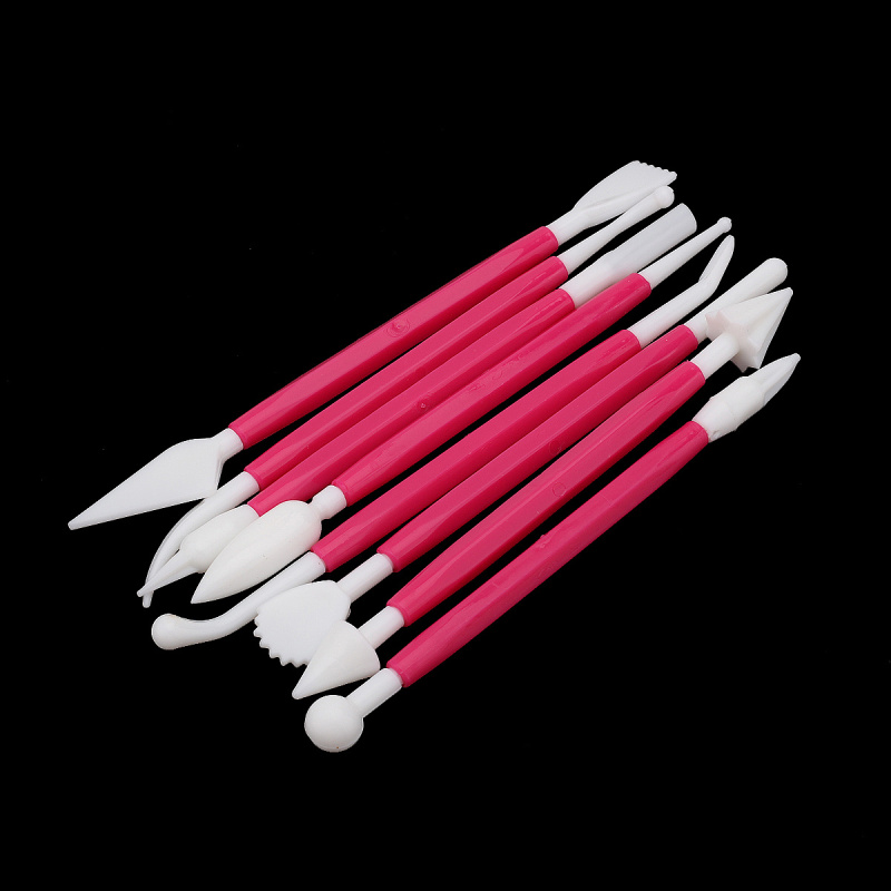 Cutting-Tool Cake Plastic DIY Fondant Red 8pcs Flower-Decorating Carving Double-Ended