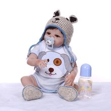 Realistic Soft 48cm Reborn Doll Full Silicone Vinyl Newborn Babies Toy Clothes Pacifier Lifelike Handmade Gift