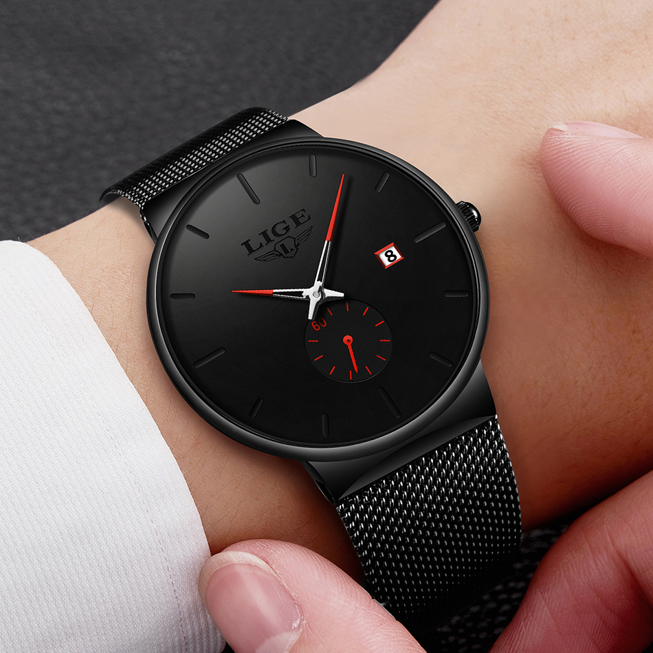 LIGE Quartz Watch Women And Men Watch Top Brand Luxury Famous Dress Fashion Watches Unisex Ultra