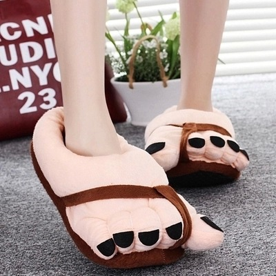 DreamShining Fashion Pretty Funny Winter Indoor Toe Big Feet Warm Soft Plush Slippers Novelty Gift Adult Shoes Slipper Unisex warm plush big feet pattern fully wrapped indoor slippers for winter