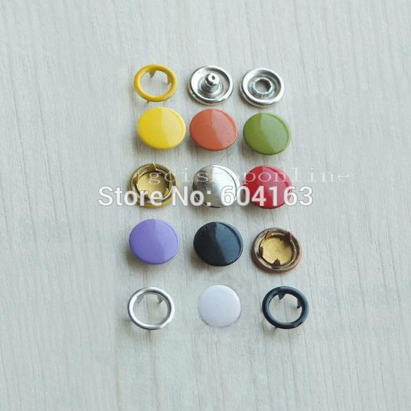 "One Press Fastener tool 50 pcs 3//8/"" Open ring stud Snap button Sew mix color"