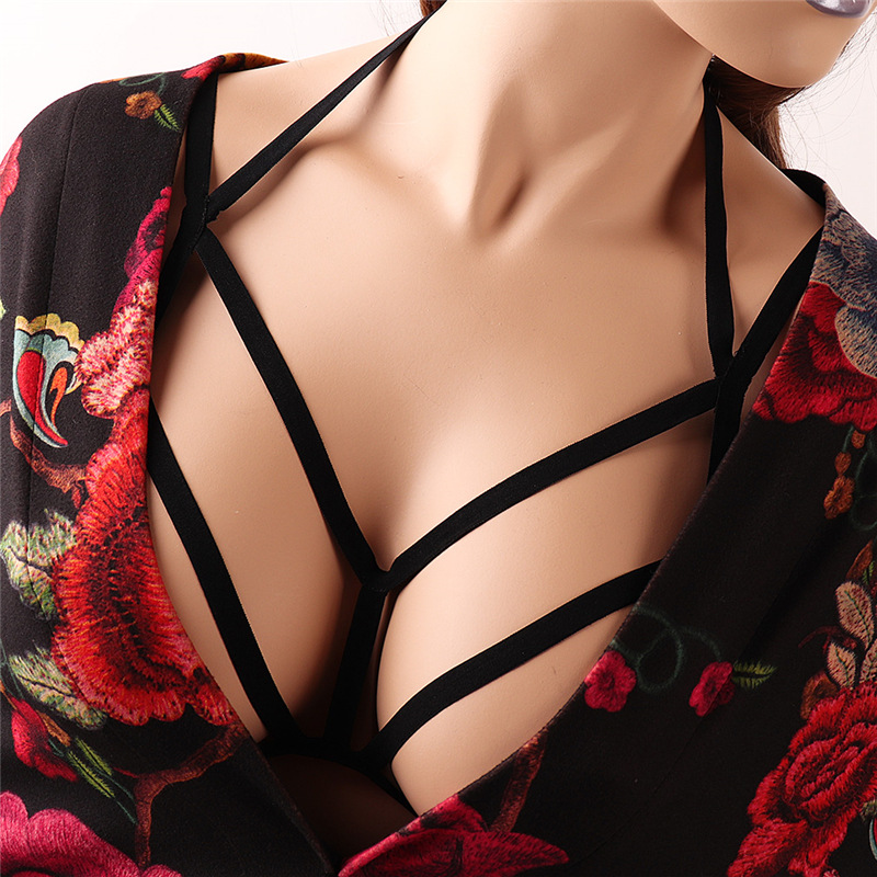La MaxPa Sexy Lingerie Women Hollow Out Elastic Cage Bra Lady Bandage Strappy Halter Bra Bustier Top Bralette Underwear K1124