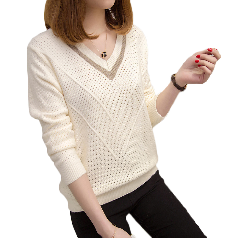 Women Sweaters And Pullovers Spring Autumn Korean Hollow Sweaters Womens Loose Knitted Sweater Female V-neck Pullover Tops