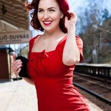 Женское винтажное платье-карандаш в стиле ретро, 50 s, красное, квадратное, с бантом, средней длины, офисное, женское, vestidos, большие размеры, облегающее платье
