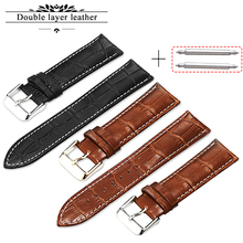 Leather Watchband Men Women Watch Band 22mm 20mm 24mm White Stitch Watch Strap On Belt Watchbands Bracelet Metal Gold Buckle недорого
