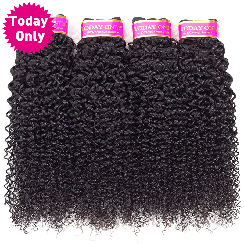 TODAY ONLY Brazilian Kinky Curly Hair 4 Bundles Deals 100% Human Hair Bundles Brazilian Hair Weave Bundles Remy Hair Extensions