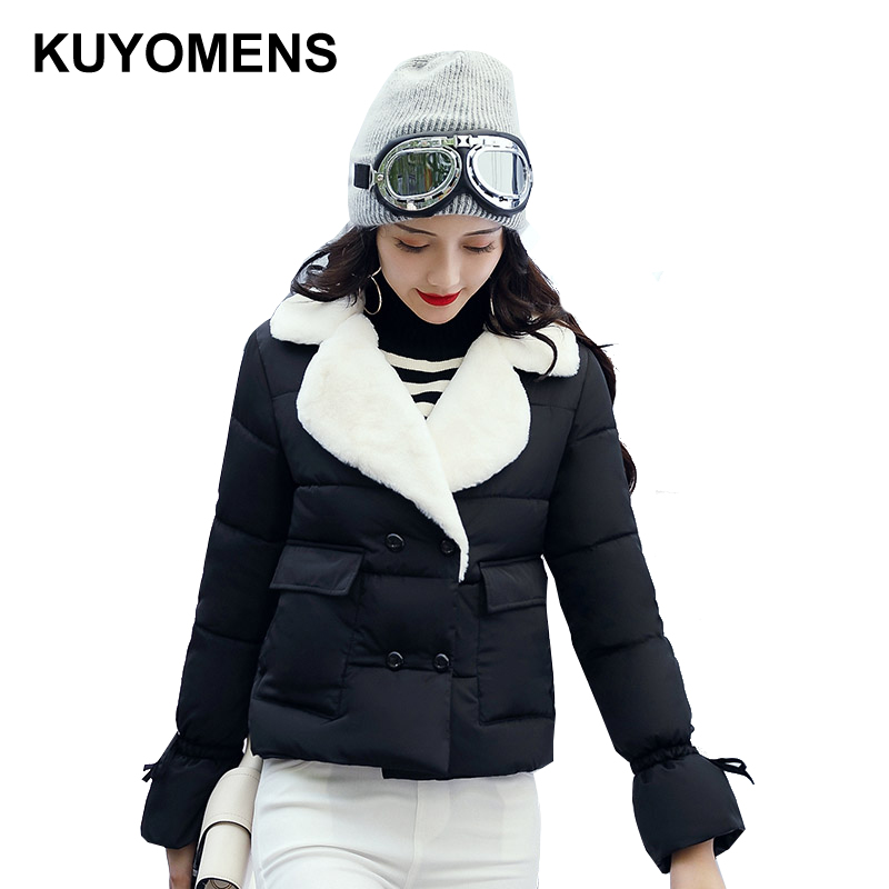 KUYOMENS Winter Short Jacket Women's Collar Thick Warm Cotton Parka For Women Winter Jackets Coat Female Autumn Clothes kuyomens 2017 women winter jacket coat cotton hooded thick warm loose women basic coats bomber jacket female autumn women coat