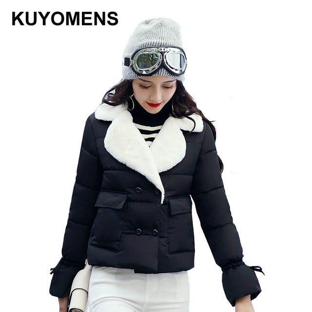 site réputé 88d44 91fd0 KUYOMENS hiver veste courte femmes col épais chaud coton Parka pour femmes  hiver vestes manteau femme automne vêtements