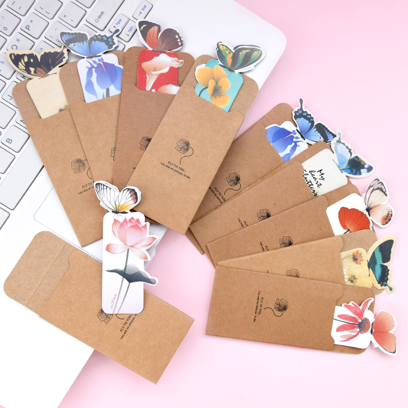 5pcs/lot Kawaii Animal Butterfly Bookmark Paper Book Mark Creative Decorative Paper Cards School Stationery