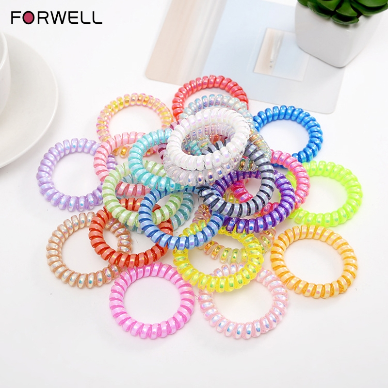 FORWELL 10PCS Elastic Hair Bands for Girls Telephone Wire Line Cord Traceless Band Rubber Hair Accessory Women Headwears
