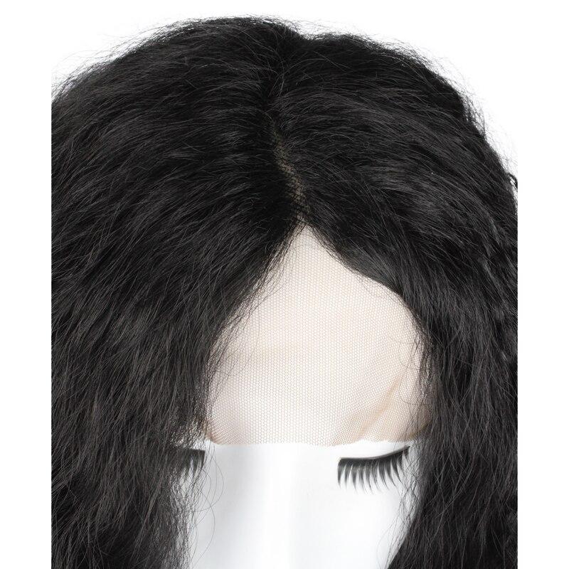 BCHR жаропрочных яки Странный Прямо Синтетические Кружева Фронтальные длинные черные парик 24