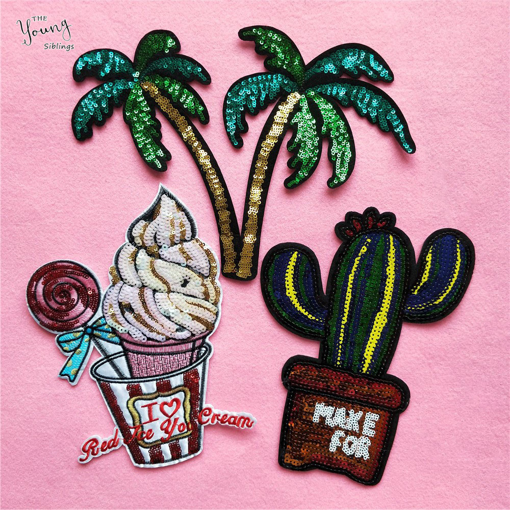 Iron On Sequin Cactus Plant Embroidery Applique Patch Sew Iron Badge