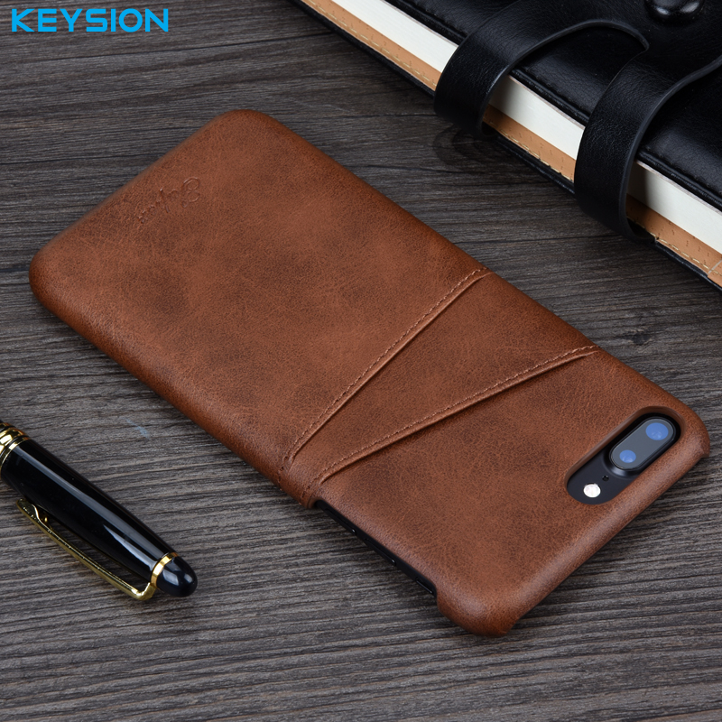 KEYSION Case For iPhone 8 8 Plus 7 7 Plus Cover Leather Luxury Wallet Card Slots Back Capa For iPhone 7 8Plus Cases Fundas