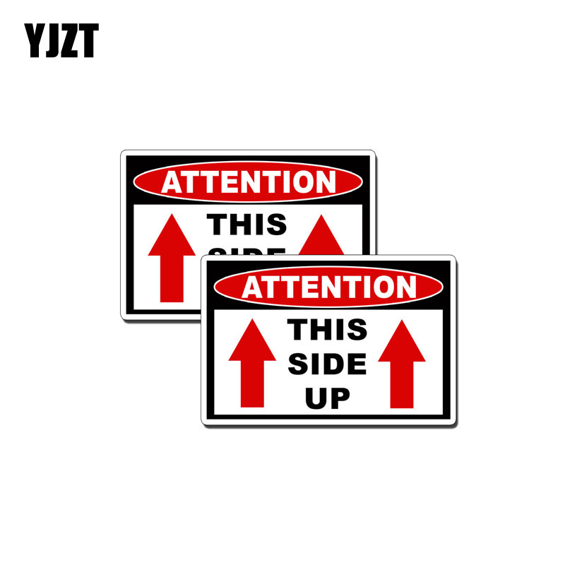 YJZT 2X 10.2CM*7.7CM This Side Up Attention Car Sticker PVC Decal 12-0575