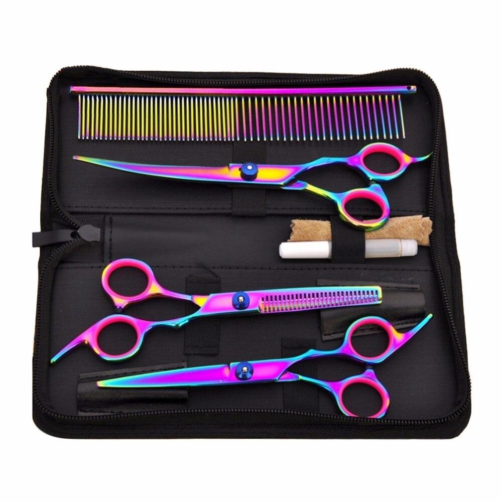 Heißer Verkauf Pet Haar Cut Bunte Schere Clippers Flache Zahn Cut Haustiere Schönheit Werkzeuge Set Kit Hunde Pflege Haar Schneiden scissor Set