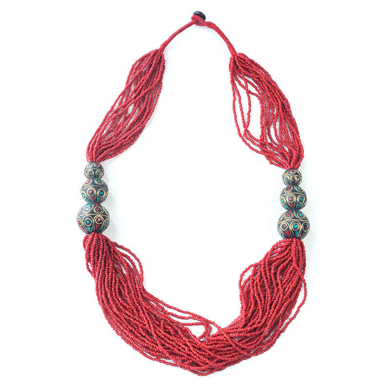 TNL594 Tibetan Necklace Red Mini Beads Necklace Tibet Nepal Necklaces