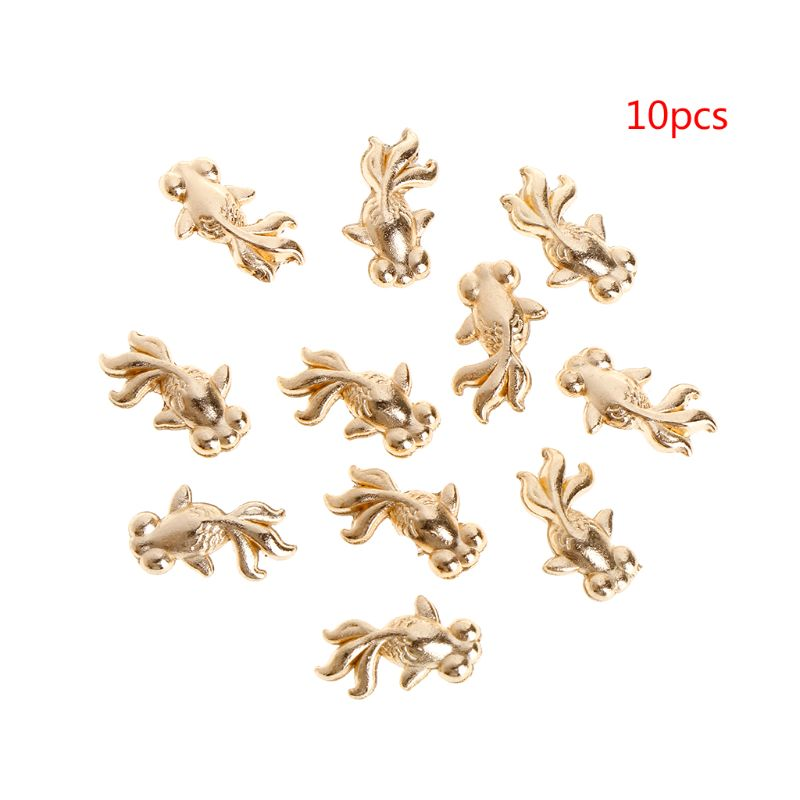 10Pcs  Epoxy Resin Filler DIY Jewelry Making Pendant Necklace Goldfish Golden Alloy Filling Materials Charms Fish Filling Crafts