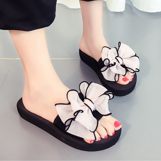 Womens Flower Wedge Flip Flops Thick Bottom Platform Sandals Non-Skid Slippers Red