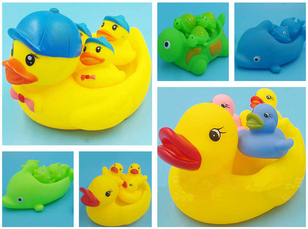 4 pc/lote 1 + 3 Squeaky Brinquedos Do Banho Do Bebê Chuveiro de Água Flutuante Patos De Borracha Família Piscina De Água De Natação Brinquedos Brinquedos de Banho brinquedo do miúdo