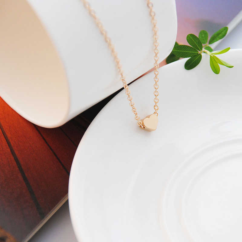 Choker Heart Tiny Dainty Silver Necklace for Women Initial Trendy Chain Collarbone Pendant Statement Gold Dorp Necklaces Jewelry