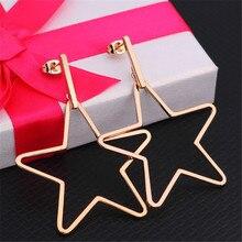 New Simple Hyperbole Gold Silver Color Round Ear Clip For Women Men Pentagram Stainless Steel Stud Earrings Fashion Jewelry