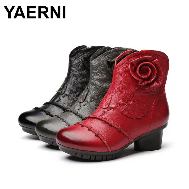 Yaerni2018 Caliente Del Genuino Casuales Cuero gris Plataforma Negro Tacón Punta Cómodas Nuevo rojo Zapatos Botas Alto Redonda De Tobillo Mujer Elegante qqZdYwBr