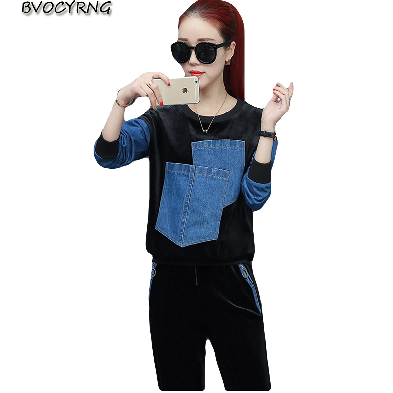 Femme black Tops Costume 2018 Pièces 2 Survêtements Haute Vêtements cou De Printemps Qualité Femelle A0411 Sport O Pantalon Blue Long Automne Loisirs qq1wIAx8