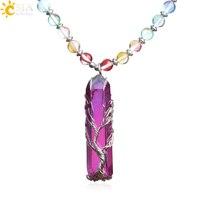 CSJA красочные длинные бусы ожерелья для женщин Древо жизни кулон Радуга Кристалл Камень ожерелье 7 Чакра богемные ювелирные изделия S444