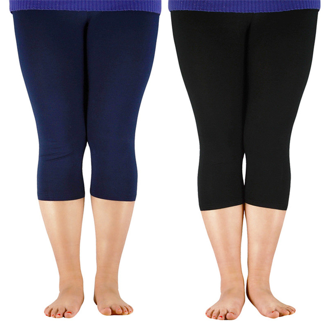 2019 Solid Leggings Women Fashion High Waist Workout Bamboo Fiber Leggings Jeggings Plus Size Leggings Trousers For Women 7XL 3