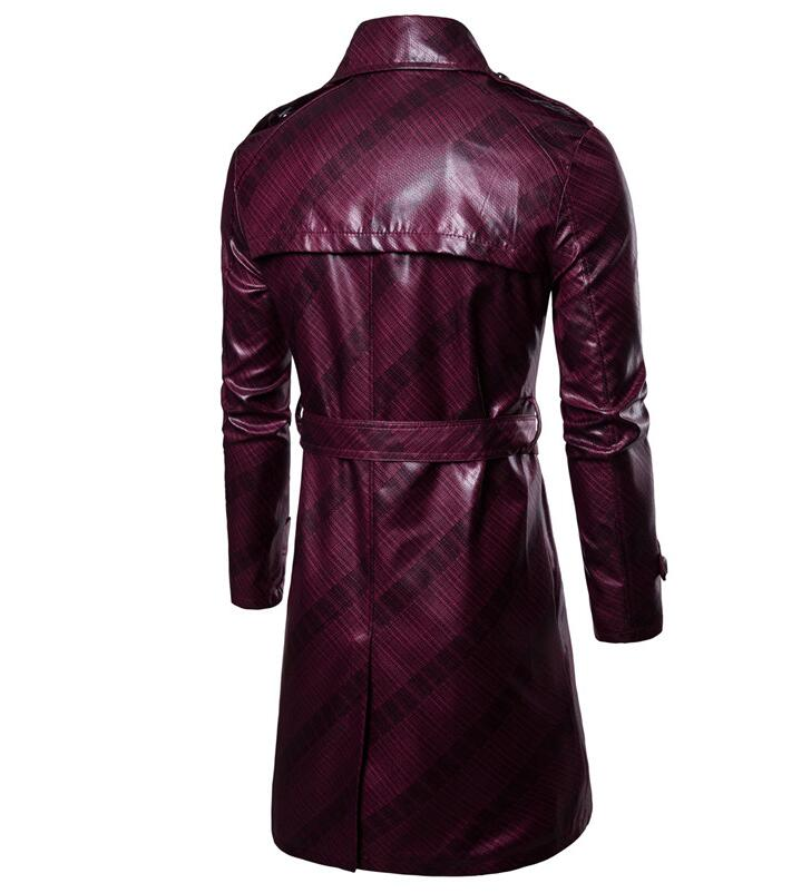 Mens trench coats man Double breasted long coat men loose clothes faux leather overcoat long sleeve lapel punk red blue in Trench from Men 39 s Clothing