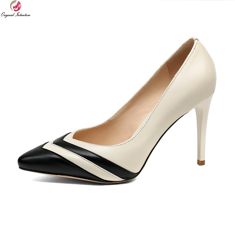 Original Intention Elegant Women Pumps Cow Leather Pointed Toe Thin High Heels Pumps Nice Black Green Shoes Woman US Size 4-8.5