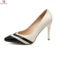 Original Intention Elegant Women Pumps Cow Leather Pointed Toe Thin High Heels Pumps Nice Black Green