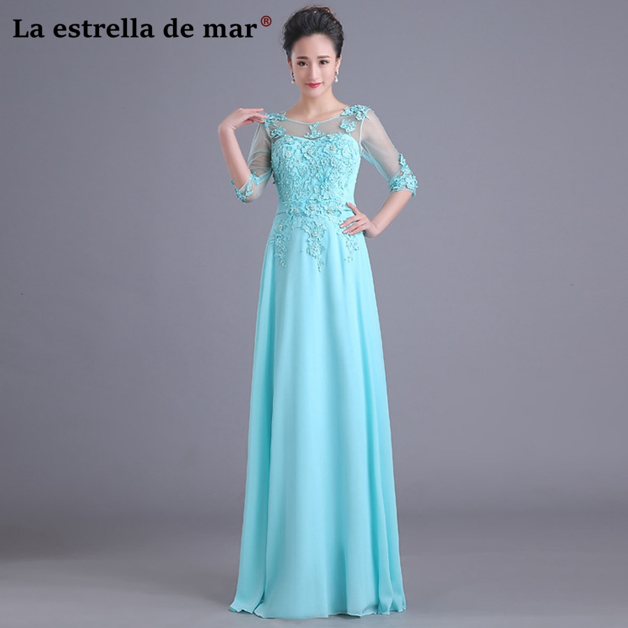 Vestido de madrinha de casamento longo latest lace pearls and chiffon Half sleeves a Line turquoise   bridesmaid     dresses   cheap