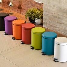 Простой и стильный мусорный бак из нержавеющей стали для ванной, гостиной, кухни, с педалью, бесшумный мусорный бак Q155