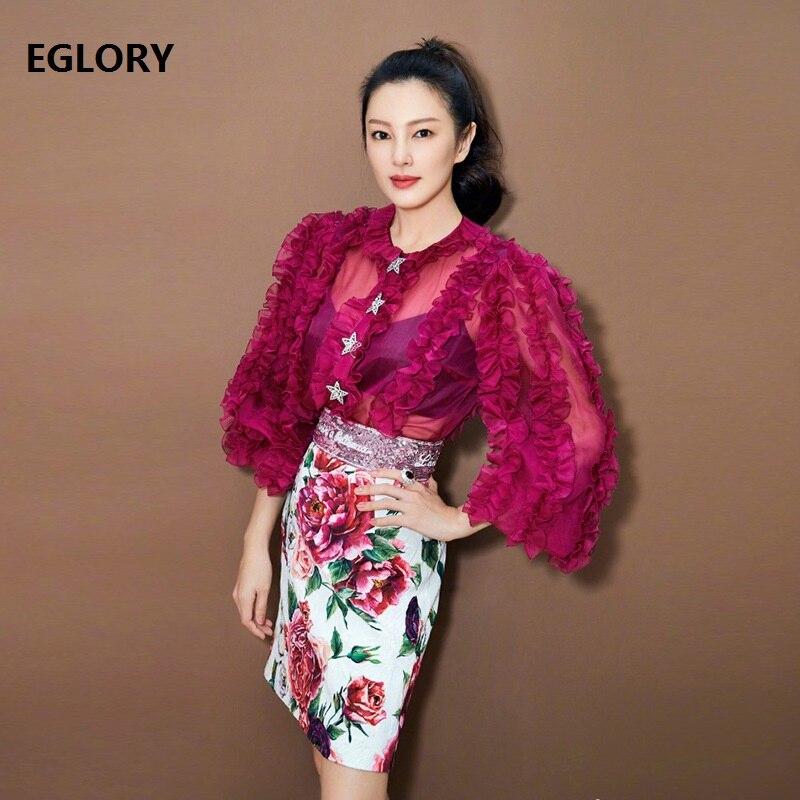 Neue R Designer Star Mode 100Seidenbluse Frauen Shirts Perlen lFTKJ1c