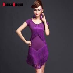 Новинка 2017 года леди Латинской платье для танцев 1 платье кисточка пряжи 4 Цвета M/L/XL roupa infantil Feminina Salsa платье для танцев es