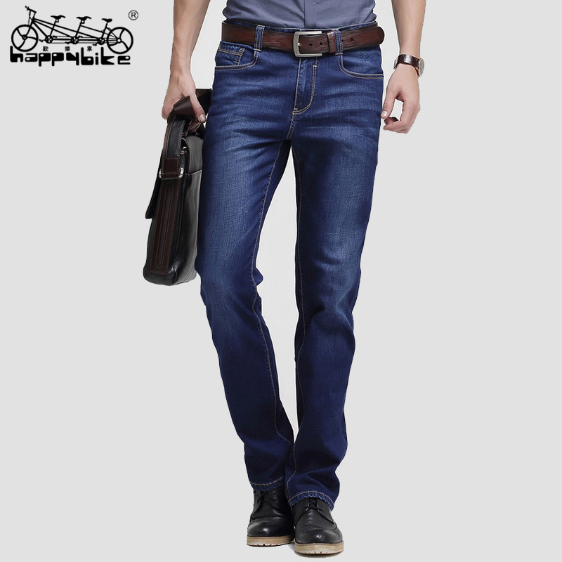 HappyBike Jeans Men 2018 Skinny Pants Classic Slim Fit Straight Denim Trousers Business Casual Jeans Homme For Male New Brands