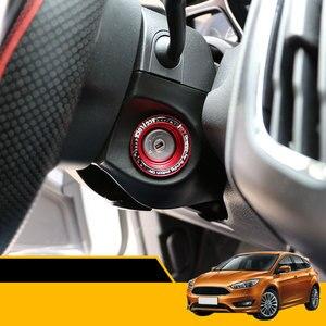 Coche Carmilla de acero inoxidable círculo agujero llave de fibra de carbono interruptor de encendido Trim Cover para Ford Focus 4 MK4 2013-2017 Sticker