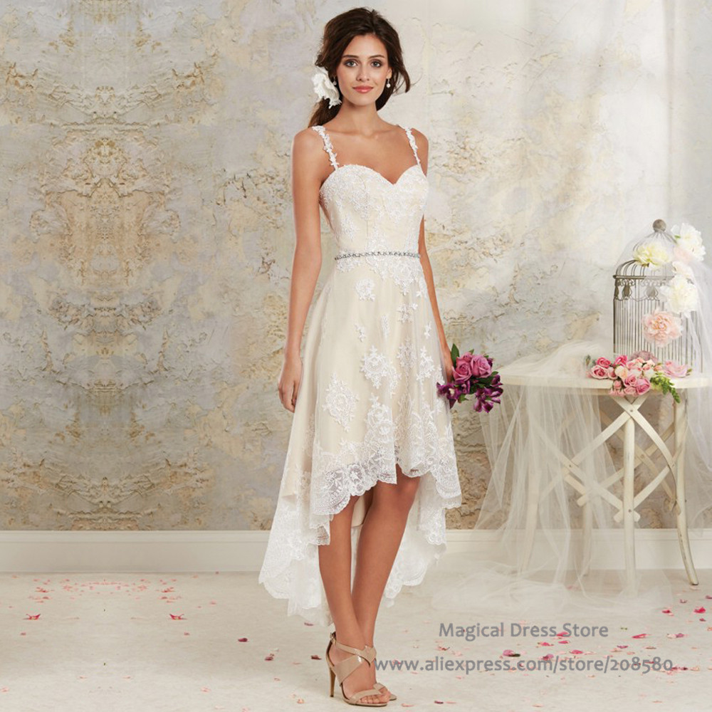 Buy bohemian high low short wedding dress for Short ivory wedding dress