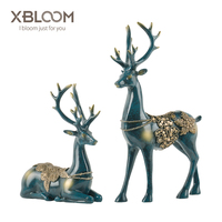 Deer Sculpture Kit Europe and America Blue Luxury Crafts home decoration accessories decoracion hogar House decorated statue